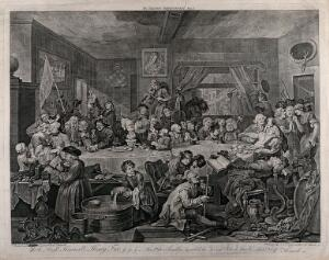view An election banquet. Engraving by W. Hogarth, 1755.