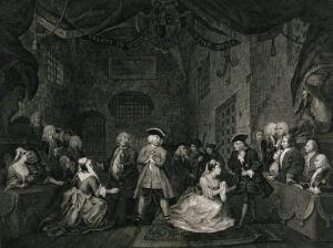 view The Beggar's opera: on trial for robbery, Captain Macheath stands in shackles, while two of his lovers plead for his life. Engraving by W. Blake after W. Hogarth, 1st July 1790.