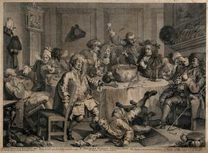 view A drunken party with men smoking, sleeping and falling to the floor. Engraving by W. Hogarth.