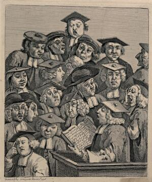 view Scholars at a lecture. Engraving by W. Hogarth.