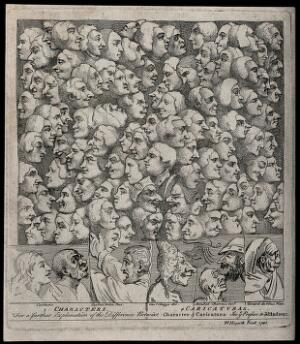 view Characters and caricatures; the idealized heads of Saint John and Saint Paul are contrasted with grotesque heads, above them rises a cloud of faces showing different expressions. Etching by W. Hogarth.