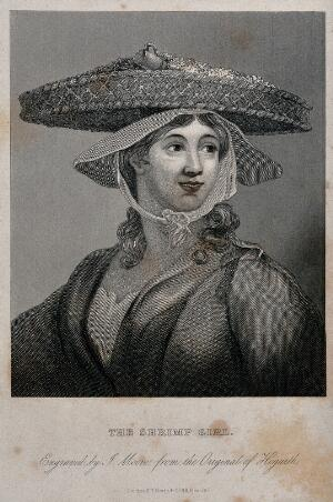 view A shrimp girl. Steel engraving by J. Moore after W. Hogarth.