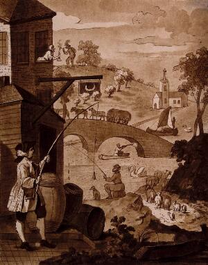 view Satire on false perspective: a landscape with absurd situations due to incorrect perspective. Aquatint by Le Coeur after W. Hogarth.