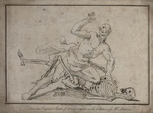 view A skeleton wrestling with a man, the man seems to be winning. Engraving by R. Livesay after W. Hogarth.