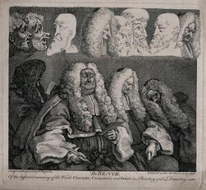 view Four judges in heavy wigs, two of them are fast asleep. Etching by W. Hogarth.