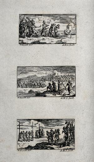view Three illustrations of Roman military punishment: banishment, degrading punishment, and freemen degraded and sold into slavery. Etchings by A.M.I. after W. Hogarth.