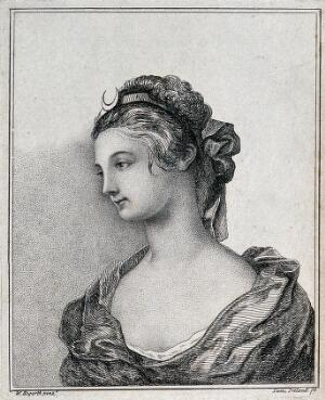 view Portrait of a young woman with a moon-shaped head-band (Diana). Etching by S. Ireland after W. Hogarth.