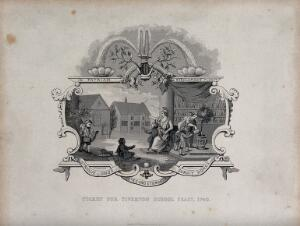 view Ticket for the Tiverton School Feast of 1740. Steel engraving by J. Moore after W. Hogarth.