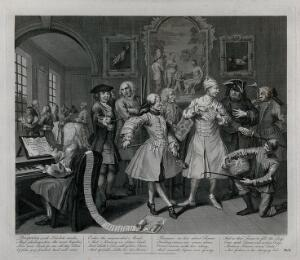 view Tom Rakewell's morning levee (his nightcap is still on his head). Engraving by T. Cook after W. Hogarth.