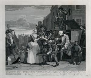 view Tom Rakewell is arrested for debt on his way to the Royal Court to seek preferment when he is saved by Sarah Young. Engraving by T. Cook after W. Hogarth.