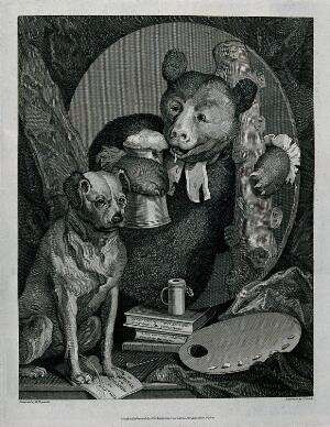 view A leering bear with soiled clerical bands, a pot of beer and a club is pictured behind a dog urinating on pamphlets. Engraving by T. Cook after W. Hogarth.