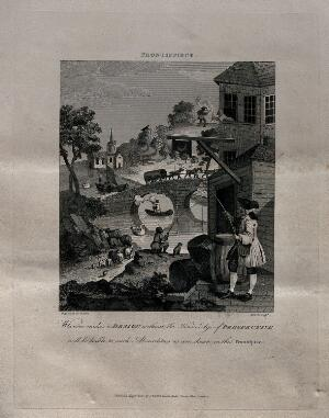 view Satire on false perspective: a landscape with absurd situations due to incorrect perspective. Engraving by T. Cook after W. Hogarth.