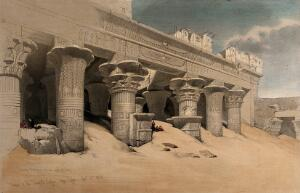 view Columns of the temple at Idfu, Egypt. Coloured lithograph by Louis Haghe after David Roberts, 1846.