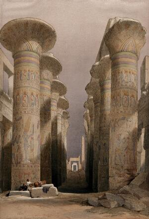 view Decorated pillars of the temple at Karnac, Thebes, Egypt. Coloured lithograph by Louis Haghe after David Roberts, 1846.