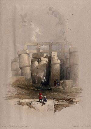 view Leaning columns in the temple at Karnac, Thebes, Egypt. Coloured lithograph by Louis Haghe after David Roberts, 1849.