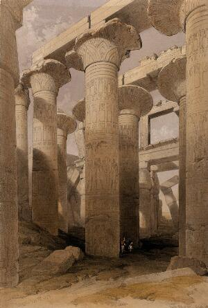 view Decorated columns at Karnak, Egypt. Coloured lithograph by Louis Haghe after David Roberts, 1847.