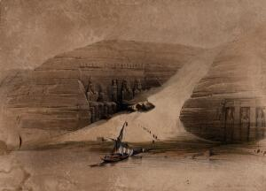 view Colossal statues excavated at Abu Simbel, seen from the Nile, Egypt. Coloured lithograph by Louis Haghe after David Roberts, 1849.