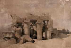 view Decorated columns of the ruins at Kom Ombo, Egypt. Coloured lithograph by Louis Haghe after David Roberts, 1849.