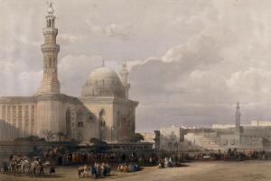 view Crowds outside the mosque of Sultan Hassan, Egypt. Coloured lithograph by Louis Haghe after David Roberts, 1849.