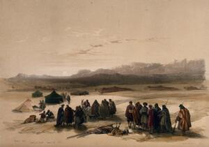 view Encampment in the desert, with Mount Seir in the distance, Wady Arabah. Coloured lithograph by Louis Haghe after David Roberts, 1849.