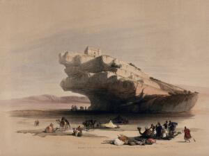 view Ancient rock-cut watch-tower overlooking the valleys of El Ghor and Akabah. Coloured lithograph by Louis Haghe after David Roberts, 1849.