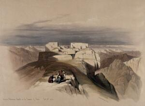 view Christian and Muslim chapels on Mount Sinai. Coloured lithograph by Louis Haghe after David Roberts, 1849.