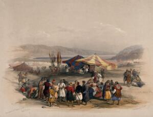 view Tent of Achmet Aga, the governer of Jerusalem, with pilgrims at Jericho for Easter. Coloured lithograph by Louis Haghe after David Roberts, 1843.