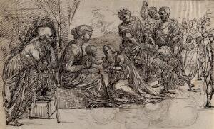 view The adoration of the Magi. Pen and ink drawing.