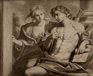 view A young man holding a stylus and a drawing, being shown a drawing of Fame by a female figure personifying Painting. Wash drawing by F. Dekker after G. Reni.