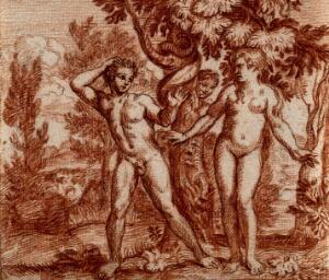 view Adam and Eve in the Garden of Eden. Red chalk drawing.