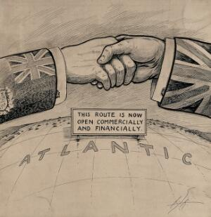 view A handshake between Canada and the United Kingdom over the Atlantic. Drawing by A.G. Racey, 191-.