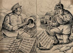 view World War I: British and German war loans contrasted. Drawing by A.G. Racey, 191-.