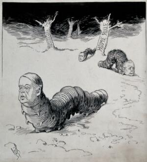 view Lord Rosebery and two other politicians represented as caterpillars; trees in the background. Drawing by A.S. Boyd, ca. 1902.