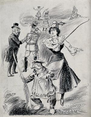 "view The Entente Cordiale: Marianne (a woman representing France) is chasing away a frog on which is written ""Anglophobia""; King Edward VII and President Émile Loubet shaking hands in the background. Ink drawing by A.S. Boyd, ca. 1903."