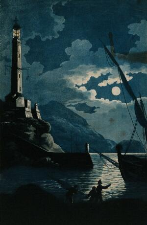 view The lighthouse of Genoa at night; a ship and three men in the foreground. Aquatint by H. Merke after Serres, 16 March 1800.