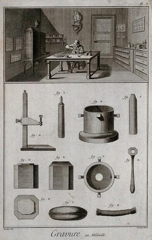 view Medals: a die-engraver in his workshop (top), with diagrams of die-engraving tools (below). Engraving by Prevost after Boucher.