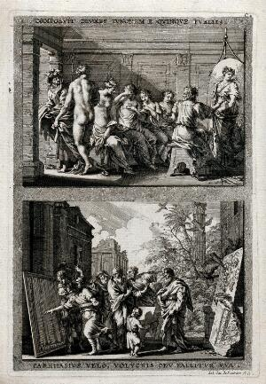 view (Above) Zeuxis painting the portrait of Juno from the features of five different women; (below) Parrhasius deceives onlookers with a painting of a veil over a painting, and birds with a painting of grapes. Etching by J.J. von Sandrart after J. von Sandrart.