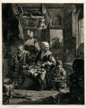 view A family seated in a kitchen preparing to cook pancakes, while a man holding a glass looks in at the doorway. Collotype after C. Visscher.