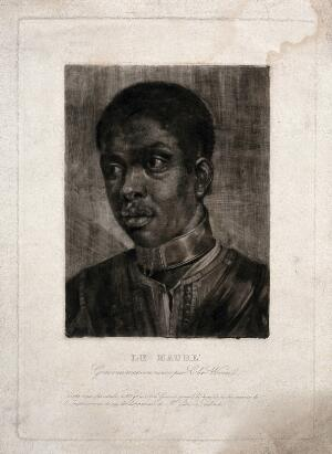 view Head of a black man. Mezzotint by Girard after a mezzotint attributed to Sir Christopher Wren.