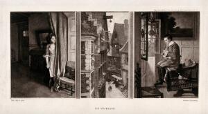 view A girl looking out from behind a curtain across a street scene at a boy seated on a table playing the recorder in the opposite house. Process print by F. Hanfstaengl, 1896, after C. Meyer.