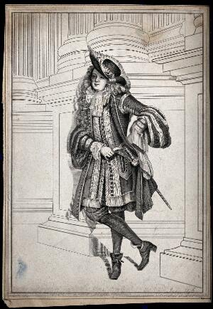 view A man dressed in seventeenth century costume leaning against the socle of some double columns. Etching.