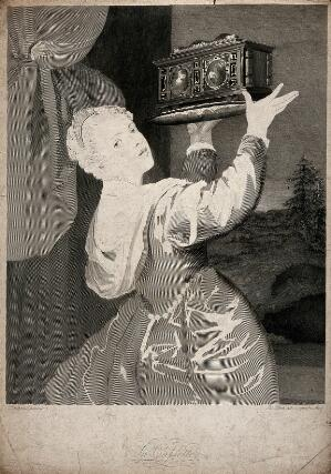 view A young woman holding up a casket on a dish as she looks back over her shoulder. Etching by J. Heath, 1815, after Titian.