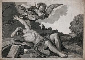 view A hermit (St. Jerome?) reclining by a rock in a landscape with an angel blowing a trumpet above. Engraving.