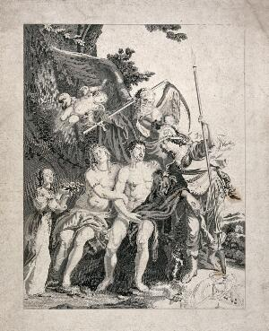 view Hercules between Venus and Minerva, with Time and Cupid looking on ; a girl proffering roses on the left. Stipple engraving after G. de Crayer.
