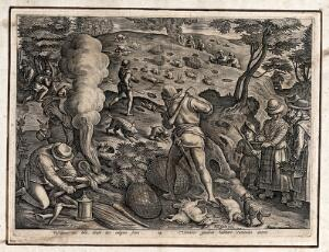 view Hunting: hunters smoking rabbits out of their burrows, beating the ground with clubs, and closing ranks to catch rabbits. Engraving attributed to A. Wierix II after J. Stradanus.