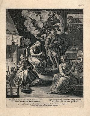 view A man influenced by the devil to deprive his three daughters of an adequate dowry so that they must stay at home clothmaking. Engraving by T. Galle after J. Stradanus (Van der Straet), ca. 1600.