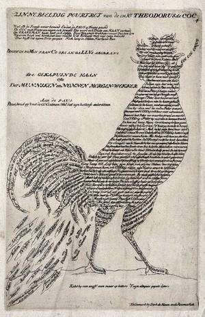 view A cock, representing Theodorus de Cock (Theodorus de Kock). Engraving attributed to Carel Allard, 1705.
