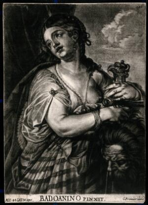 view Judith with a sword holding the head of Holofernes. Mezzotint by A. von Prenner after A. Varotari, il Padovanino, ca. 1720.