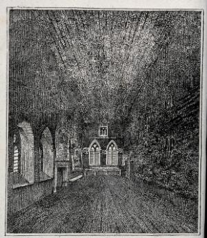 view Interior of a church, showing Gothic windows and fireplace. Etching, ca. 1800.