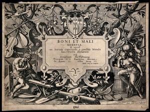 view The engraved titlepage to Boni et mali scientia, 1583.